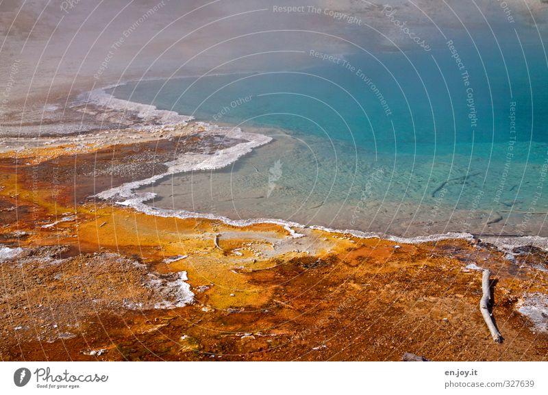 Randerscheinung Umwelt Natur Landschaft Urelemente Wasser Vulkan Heisse Quellen außergewöhnlich fantastisch Flüssigkeit heiß blau orange Farbe bedrohlich