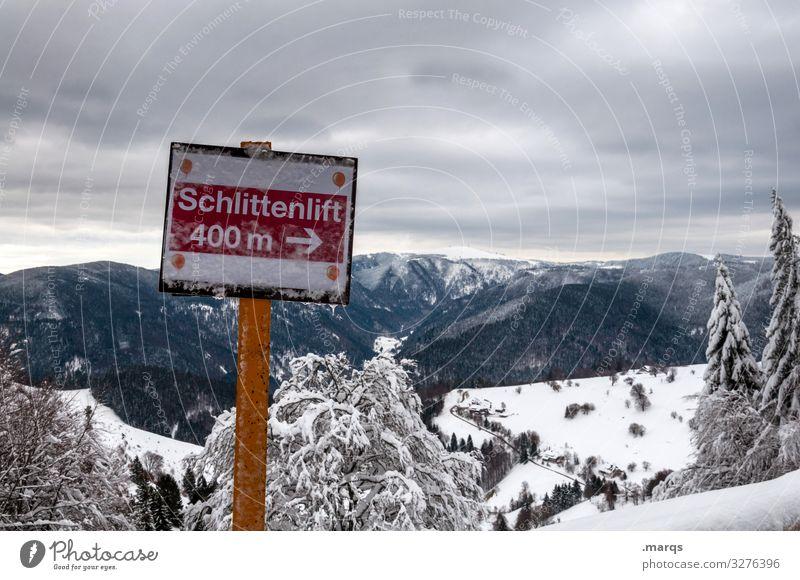 Eiszeit | Utopie Freizeit & Hobby Tourismus Natur Landschaft Himmel Gewitterwolken Winter Klima Schnee Baum Berge u. Gebirge Skilift Schriftzeichen