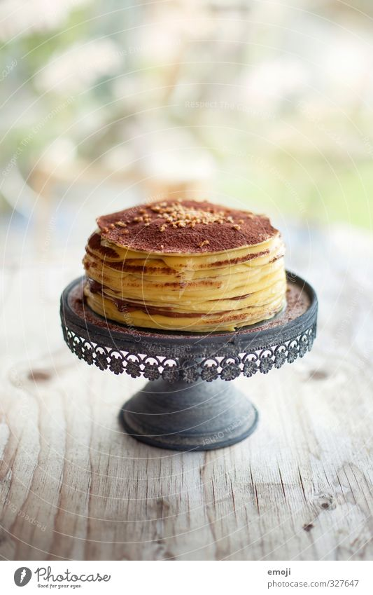 made with chocolate and love Kuchen Dessert Süßwaren Schokolade Torte Crêpe Tortenplatte Ernährung lecker süß Farbfoto Innenaufnahme Menschenleer Tag