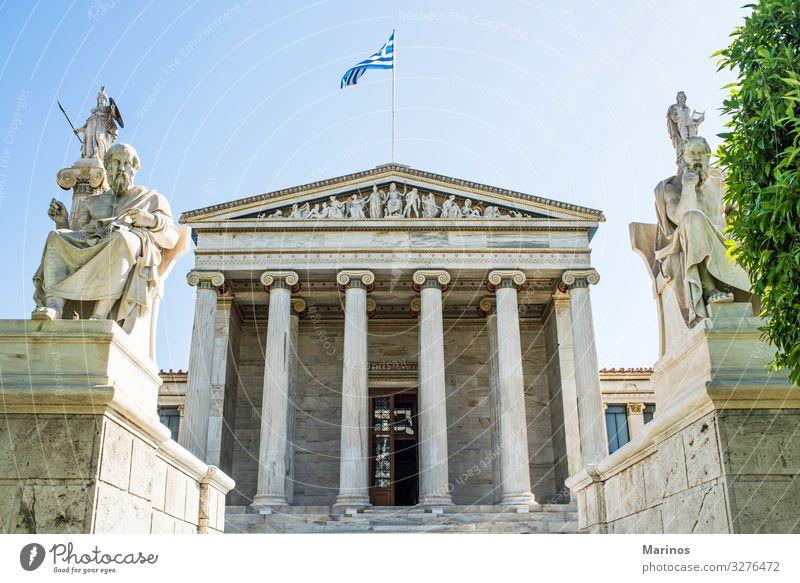Akademie von Athen Ferien & Urlaub & Reisen Wissenschaften Studium Kunst Kultur Gebäude Architektur Fassade Griechenland forschen Klassik Statue Bildhauerei