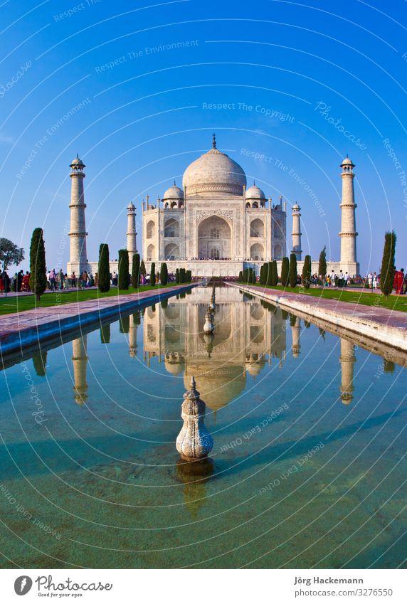 Taj Mahal in Indien schön Ferien & Urlaub & Reisen Tourismus Kultur Landschaft Himmel Palast Platz Gebäude Architektur Denkmal Liebe blau weiß Religion & Glaube