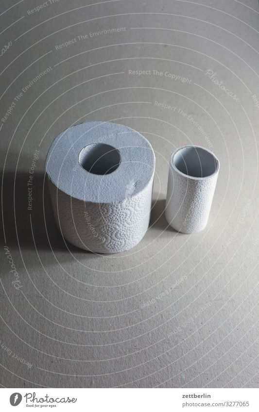 Dick und dünn Generation groß Körperpflege Sauberkeit Körperpflegeutensilien klein Toilettenpapier Kontrast Papier Rolle Miettoilette Verschiedenheit dick voll