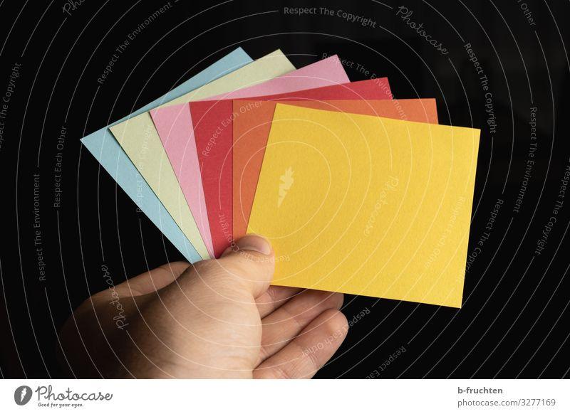 Bitte ziehen! Büroarbeit Wirtschaft Business Erfolg Team Hand Finger Schreibwaren Papier Zettel Zeichen Arbeit & Erwerbstätigkeit wählen festhalten mehrfarbig