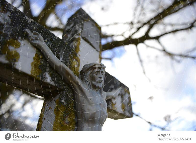 Kreuz Körper maskulin 1 Mensch Zeichen grau Jesus Christus Christentum Karfreitag Religion & Glaube Spiritualität pilgern Ostern Farbfoto Außenaufnahme