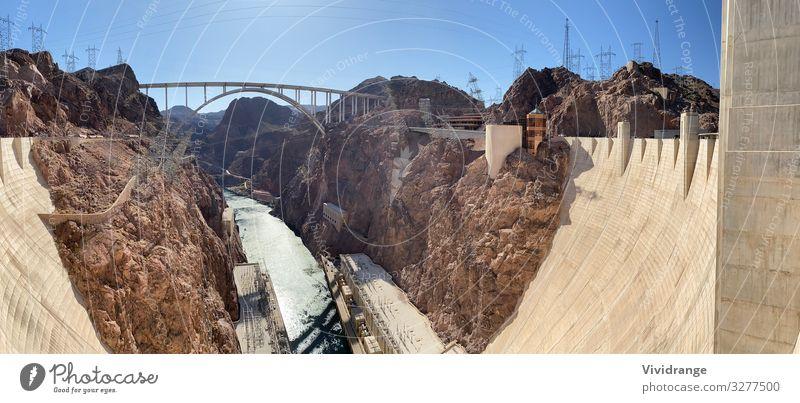 Hover Dam und weite Sicht auf Colorado River, Nevada und Arizona Ferien & Urlaub & Reisen Tourismus Ausflug Sightseeing Berge u. Gebirge Energiewirtschaft
