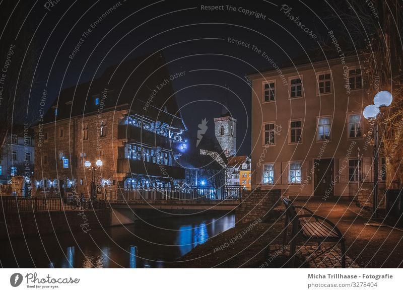 Altstadt Erfurt bei Nacht Ferien & Urlaub & Reisen Tourismus Ausflug Sightseeing Städtereise Deutschland Europa Stadt Stadtzentrum Menschenleer Haus Kirche