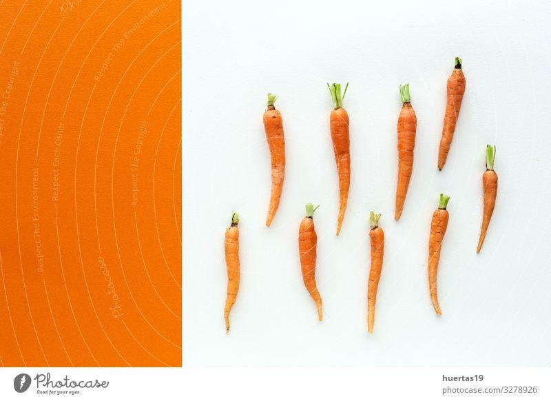 Leckere geröstete Karotten von oben Lebensmittel Gemüse Kräuter & Gewürze Mittagessen Abendessen Vegetarische Ernährung Diät Gesunde Ernährung frisch lecker