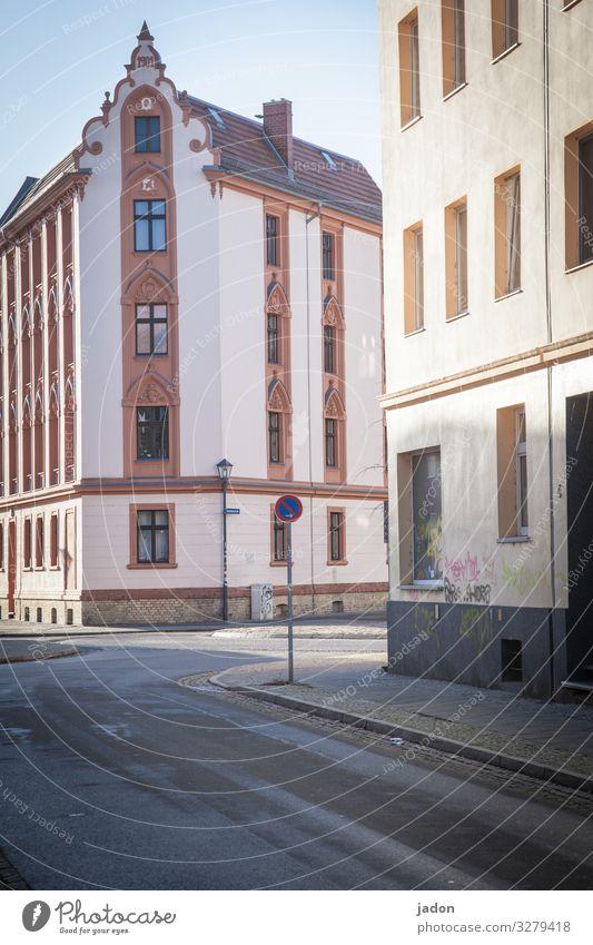empty streets (10). elegant Baustelle Schönes Wetter Brandenburg an der Havel Stadt Stadtzentrum Fußgängerzone überbevölkert Haus Platz Gebäude Architektur