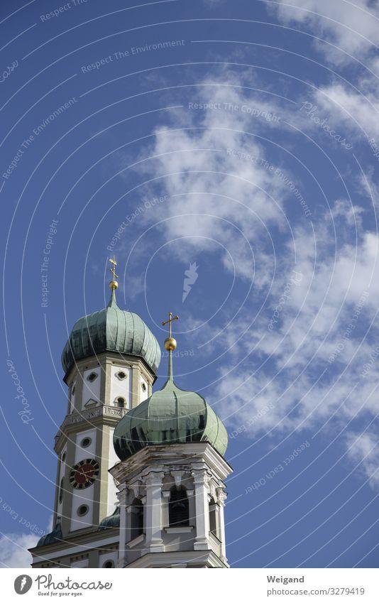 Augsburg Ostern Kirche blau Religion & Glaube Katholizismus Kirchturm Himmel Kreuz Gebet Farbfoto Außenaufnahme Textfreiraum oben