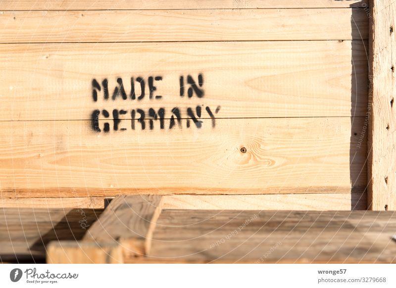 Made in Germany Fortschritt Zukunft Industrie Verpackung Kasten Holz Schriftzeichen Schilder & Markierungen eckig groß braun schwarz Kiste Versand Versandhandel