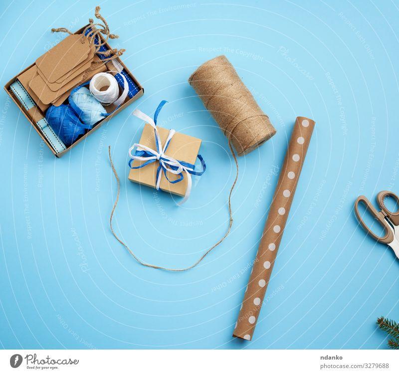 quadratische Geschenkschachtel, Seil und Geschenkpapier Dekoration & Verzierung Feste & Feiern Weihnachten & Advent Handwerk Papier Verpackung Paket Schnur neu