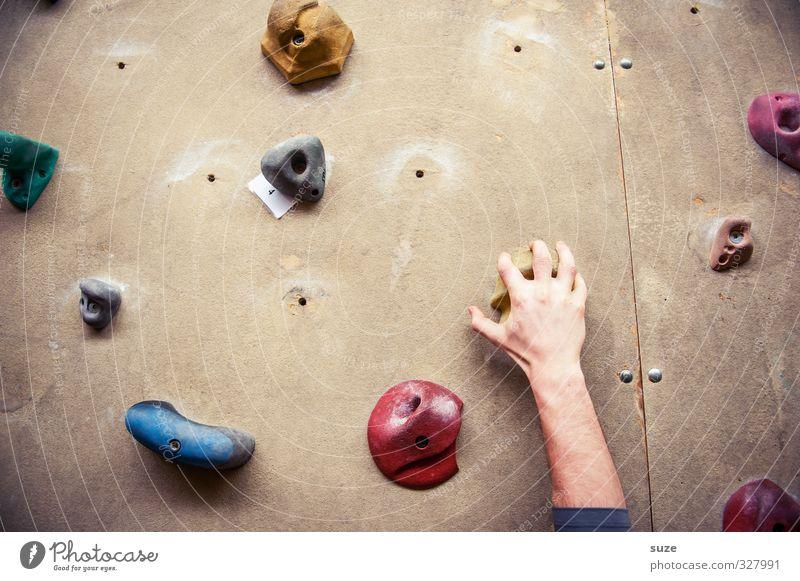 Greifer Lifestyle Freude Freizeit & Hobby Sport Klettern Bergsteigen Seil Mensch maskulin Arme Hand Finger 1 Mauer Wand Kunststoff Fitness hängen hoch