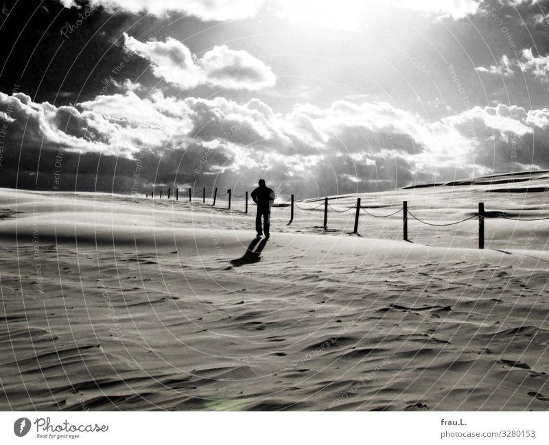 Sandwüste Ferien & Urlaub & Reisen Tourismus Ausflug Strand Winterurlaub Mann Erwachsene 1 Mensch 45-60 Jahre Wolken Herbst Schönes Wetter Wind Küste gehen