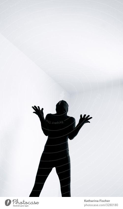Part of Expression Mensch weiß Hand schwarz feminin Kunst Raum maskulin offen stehen Körperhaltung Anzug Fragen androgyn unwissend Körpersprache