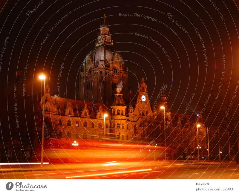 Rathaus Hannover Nacht Licht Streifen Architektur Straße