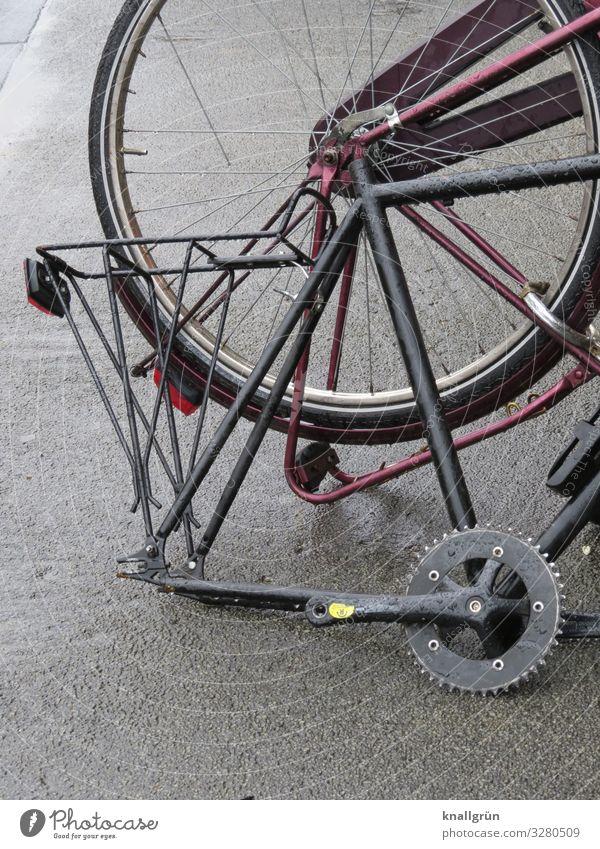 Bausatz Fahrrad kaputt grau silber stagnierend Zahnrad Fahrradausstattung Fahrradgepäckträger Fahrradreifen Farbfoto Außenaufnahme Menschenleer