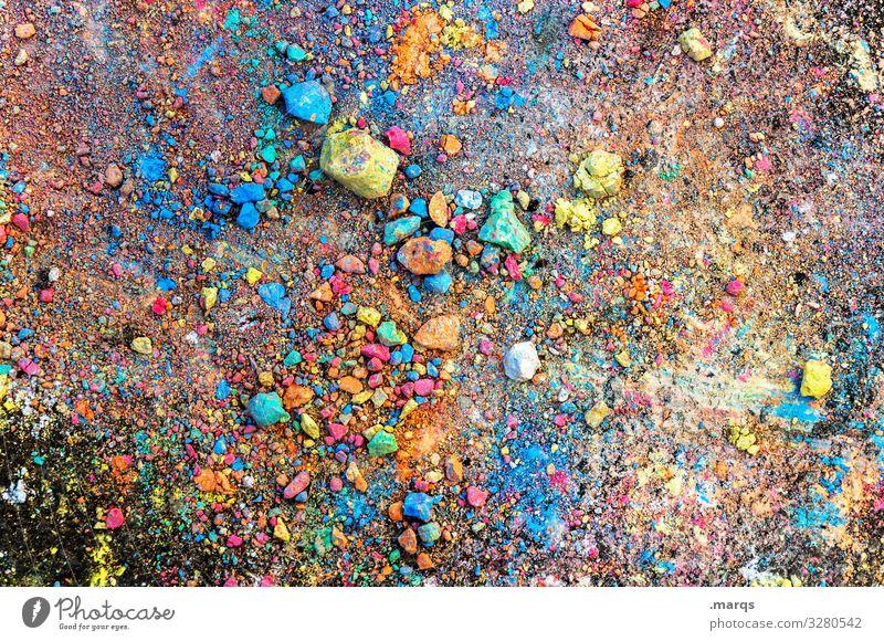 Bunte Straßenkreide Kreide Asphalt bunt Kindheit viele Freude Chaos Kindheitserinnerung Kinderspiel malen Strassenmalerei Kreativität Spielen stücke