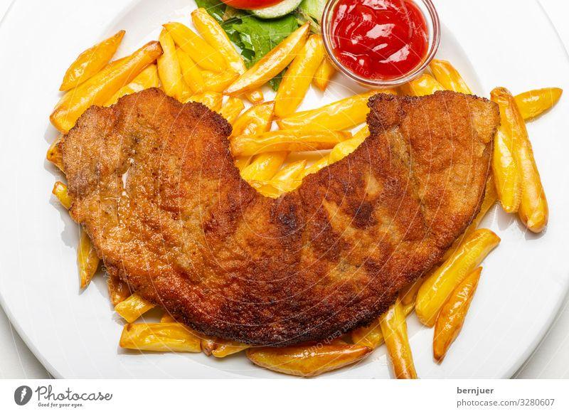 Wiener Schnitzel Fleisch Festessen frisch lecker Kalbsschnitzel Schweineschnitzel Hähnchenschnitzel Haushuhn Kalbfleisch Schweinefleisch Ketchup Pommes frites