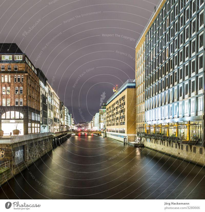 alsterfleet hamburg deutschland bei nacht Ferien & Urlaub & Reisen Sommer See Fluss Stadt Brücke Gebäude Architektur Stimmung Hamburg Alster binnenalster Kanal