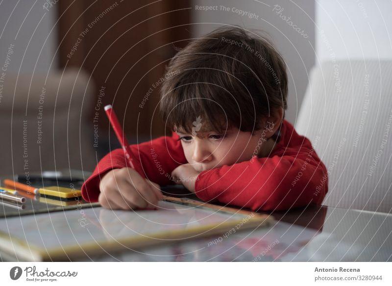 Heimarbeiter Tisch Wohnzimmer Kind Schule Junge Kindheit Buch sitzen niedlich Kaukasier konzentrierend häusliches Leben Bildung heimwärts Hausaufgabe anlehnen