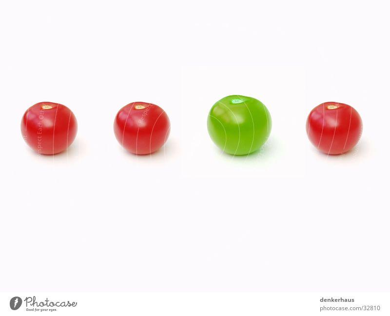 be different grün 4 rot weiß gleich Sportveranstaltung Konkurrenz Tomate Reihe Verschiedenheit Größe einzigartig außergewöhnlich Einzelgänger