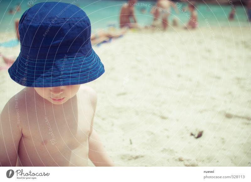 Summertime and the livin is easy Mensch Kind Ferien & Urlaub & Reisen Sommer Sonne Meer Landschaft Strand Ferne Leben Spielen Junge Küste Sand braun Körper