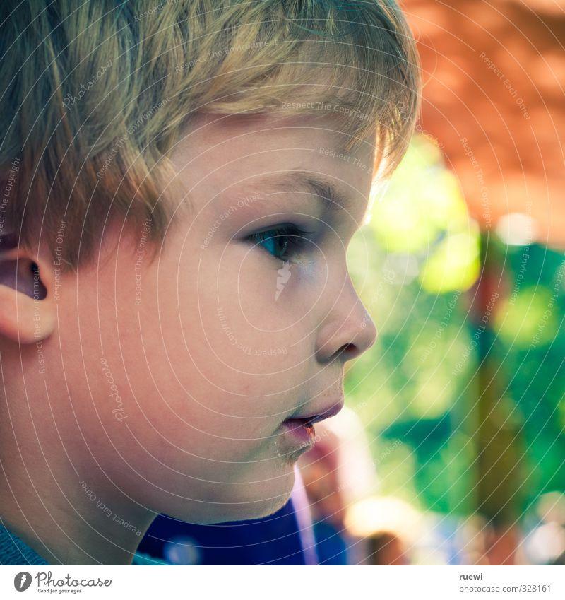 Kindskopf² Mensch Kind blau grün Freude Spielen Junge Haare & Frisuren Kopf träumen Stimmung orange maskulin Freizeit & Hobby blond Kindheit