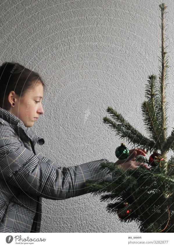 Christbaum schmücken Mädchen Weihnachtsbaum Fichte Tanne Christbaumkugel grün rot grau konzentriert Weihnachten & Advent Farbfoto Dekoration & Verzierung