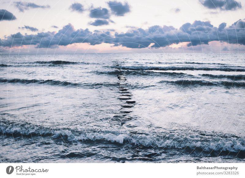 Sonnenuntergang auf Hiddensee ruhig Ferien & Urlaub & Reisen Tourismus Strand Meer Insel Wellen Umwelt Natur Urelemente Luft Wasser Himmel Wolken Horizont
