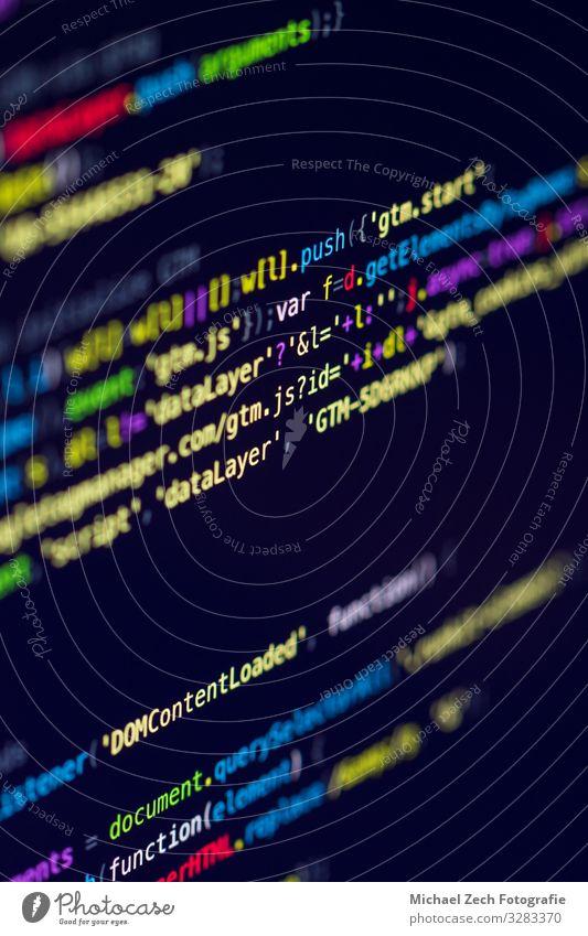 Entwickler-Bildschirm mit farbigem Website-Programmiercode Dekoration & Verzierung Arbeit & Erwerbstätigkeit Beruf Computer Software Technik & Technologie