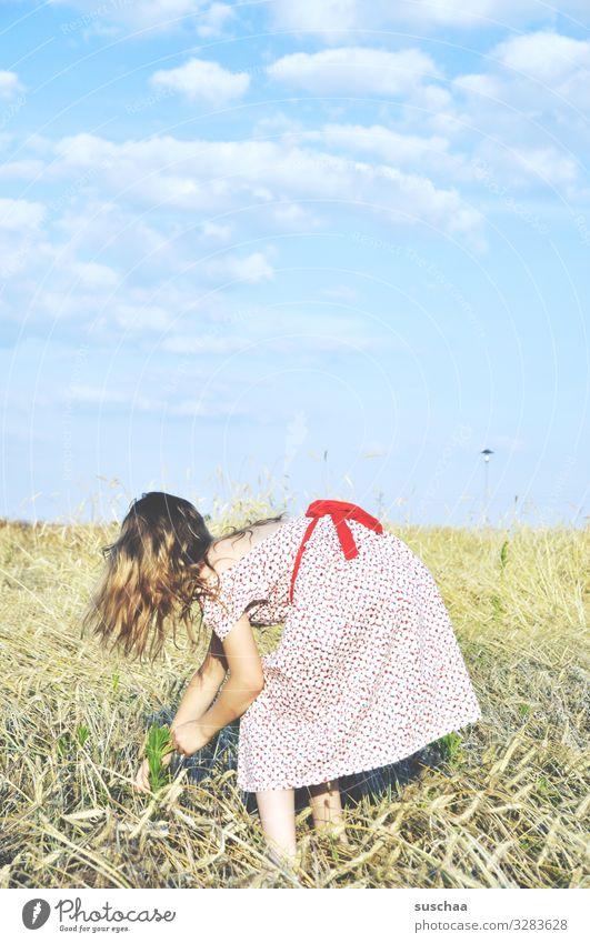 sommertag Kind Mädchen weiblich Kindheit Fröhlichkeit Unbeschwertheit Freiheit Sommer Sonnenlicht Wärme Kleid retro Haare & Frisuren Himmel Wolken Außenaufnahme