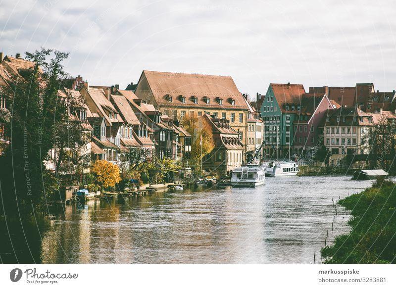 Bamberg Blick von Markusbrücke Ferien & Urlaub & Reisen Pflanze Landschaft Lifestyle Tourismus Ausflug genießen Klima Städtereise Sightseeing Flussufer