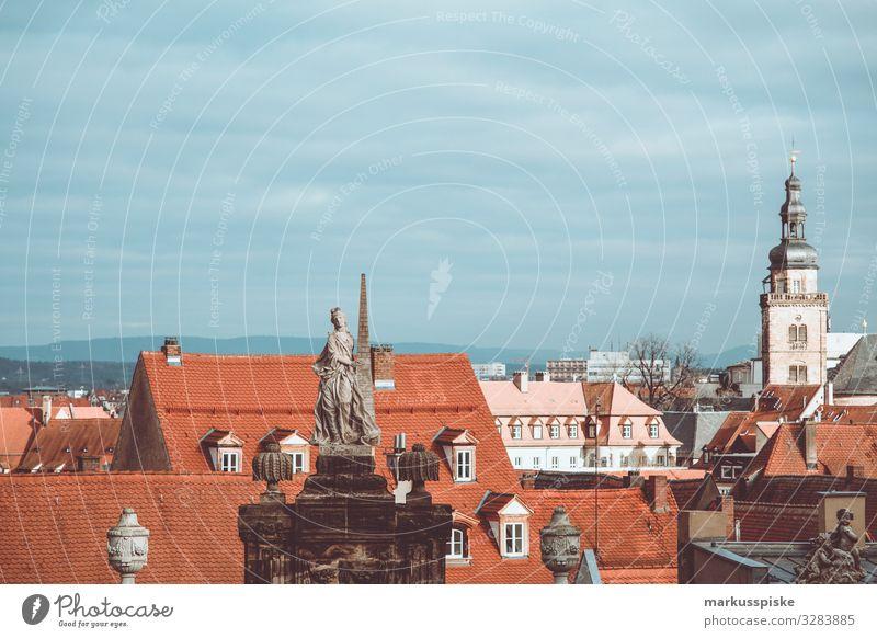 Bamberg Blick vom Domplatz Ferien & Urlaub & Reisen Tourismus Ausflug Sightseeing Städtereise Oberfranken Kirche Religion & Glaube Statue Stadt Bauwerk Gebäude