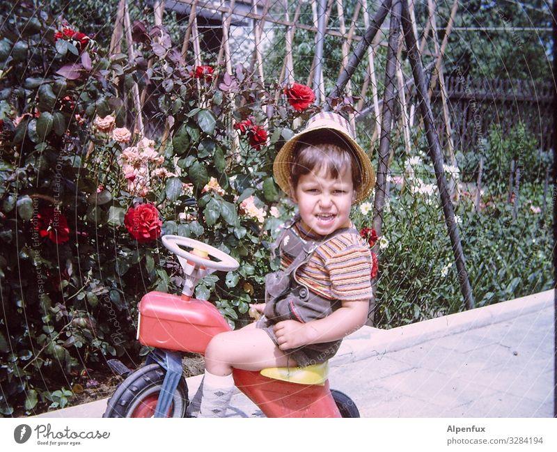 Guns N' Roses Mensch maskulin Kleinkind Junge 1-3 Jahre Dreirad beobachten Lächeln Blick Spielen Freude Glück Fröhlichkeit Zufriedenheit Abenteuer Beginn
