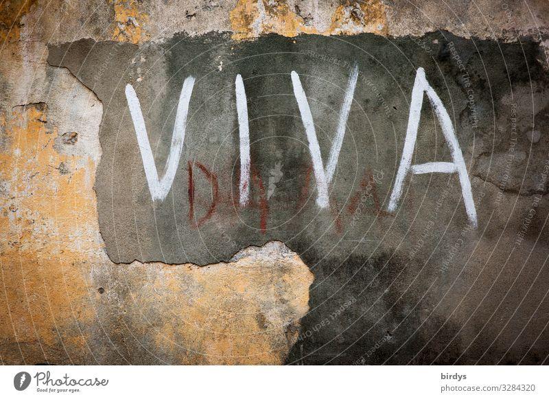 ...la vida y el amor Mauer Wand Schriftzeichen Graffiti alt authentisch Erfolg positiv gelb grau weiß Begeisterung Ehre dankbar Partnerschaft Leben Spanisch