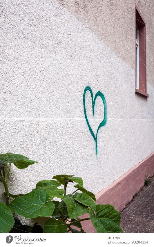 Herz an Hauswand Symbole & Metaphern Graffiti Fenster Blätter Pflanze Liebe Liebesbekundung Stadt Valentinstag