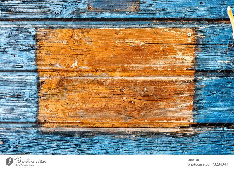 [     ] Schwarzes Brett Holzwand Farbe blau orange Kotrast Pinnwand Kommunizieren Strukturen & Formen eckig alt Nahaufnahme