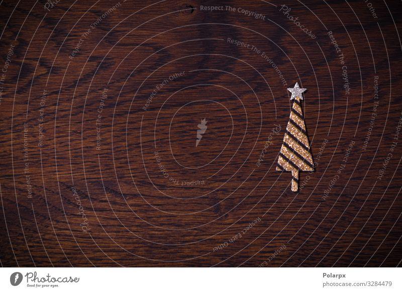 Goldener Weihnachtsbaum mit Glitzer Design Glück Winter Dekoration & Verzierung Tisch Feste & Feiern Weihnachten & Advent Handwerk Baum Holz Ornament Streifen