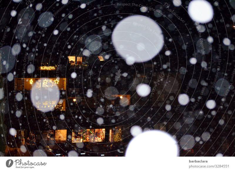 Lichterglanz und Schneeflocken Häusliches Leben Feste & Feiern Weihnachten & Advent Silvester u. Neujahr Winter Schneefall Dorf Haus Fenster Beleuchtung