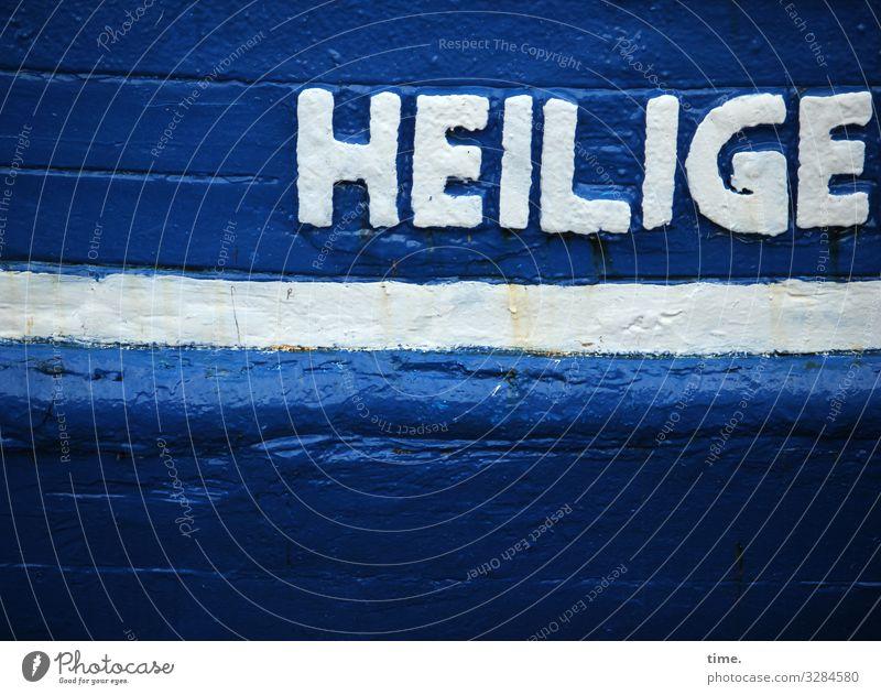 Patriotische Seefahrt | Geschriebenes Hafen Fischerboot Wasserfahrzeug Lack Holz Schriftzeichen Schilder & Markierungen alt dunkel historisch maritim blau weiß