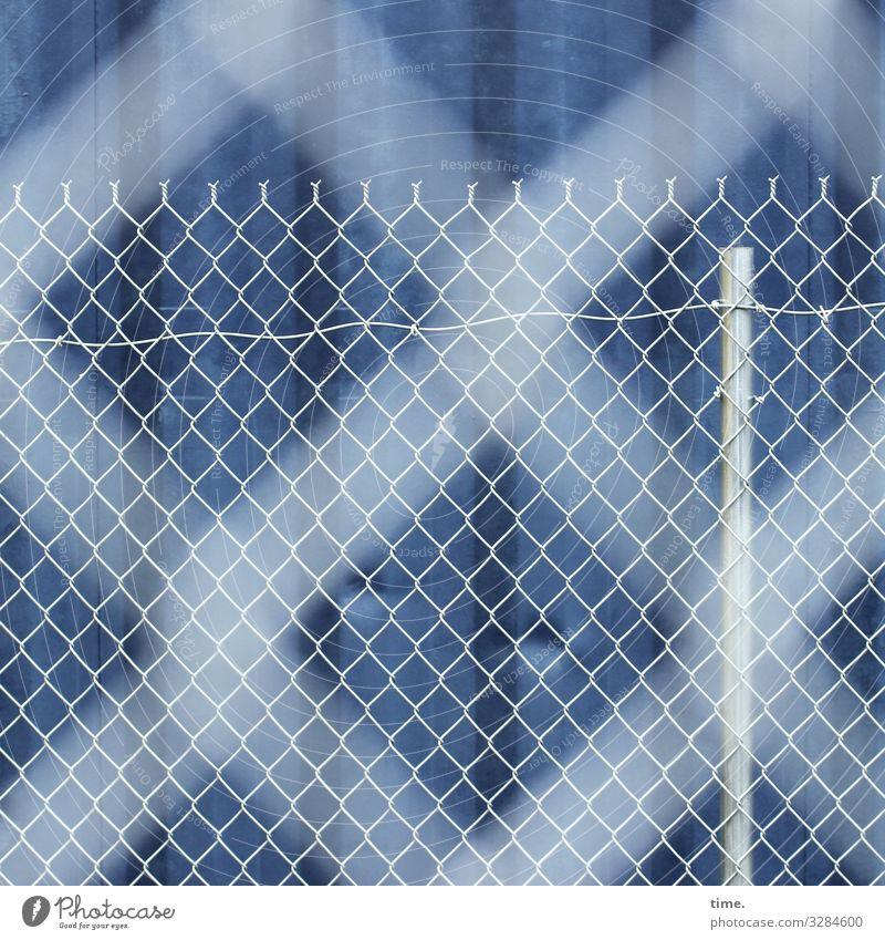 Geschichten vom Zaun (65) Container Zaunpfahl Linie Streifen Netzwerk dunkel blau weiß Sicherheit Schutz Wachsamkeit Ausdauer standhaft Ordnungsliebe Neugier
