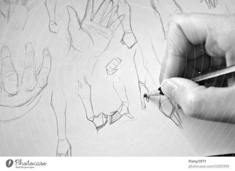 Fingerübung Hand Anatomie 1 Mensch Kunst Künstler Zeichnung Entwurf Bleistift Papier zeichnen ästhetisch Kreativität üben lernen Schwarzweißfoto Nahaufnahme