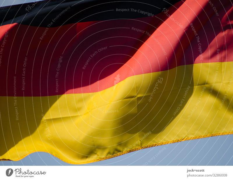 Schwarz Rot Gold Wind Wärme Deutschland Fahne Streifen Wahrzeichen Staatssymbol Originalität blau gold rot schwarz Stimmung Macht Design Farbe Leichtigkeit
