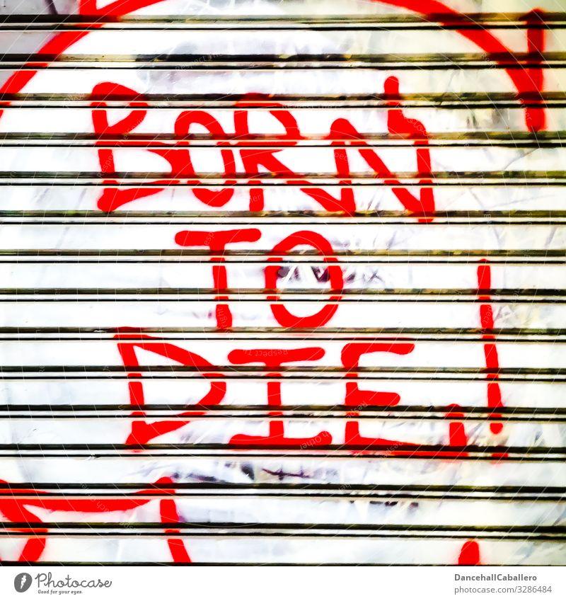Geschriebenes | born to die Stadt Lifestyle Leben Graffiti Wand Senior Mauer Tod Fassade Metall Schriftzeichen Lebensfreude Beginn Wandel & Veränderung Zeichen