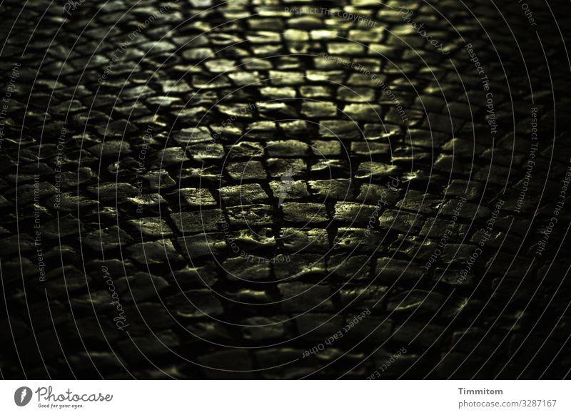 Abendlicht auf Pflastersteinen Licht dunkel golden Nahaufnahme Stein Menschenleer Straße Kopfsteinpflaster Schatten