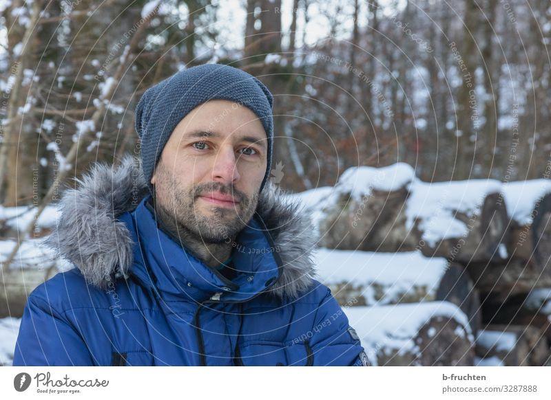 Portrait im Winter Leben Zufriedenheit Freizeit & Hobby Wintersport wandern maskulin Mann Erwachsene Gesicht Bart 1 Mensch 30-45 Jahre Jacke Mantel Mütze