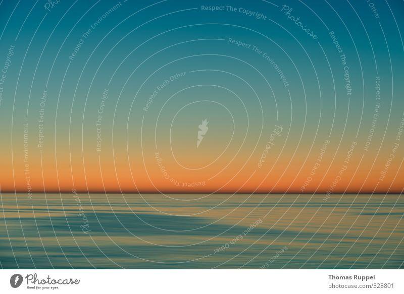 Hier war die Sonne letzte Woche Himmel blau Ferien & Urlaub & Reisen schön Sommer Meer ruhig Erholung Wärme Horizont Stimmung orange Wetter Wellen Klima