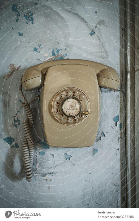 alt blau gelb sprechen Stil Büro Linie retro Kommunizieren Technik & Technologie Telekommunikation Zukunft Telefon Symbole & Metaphern Kontakt