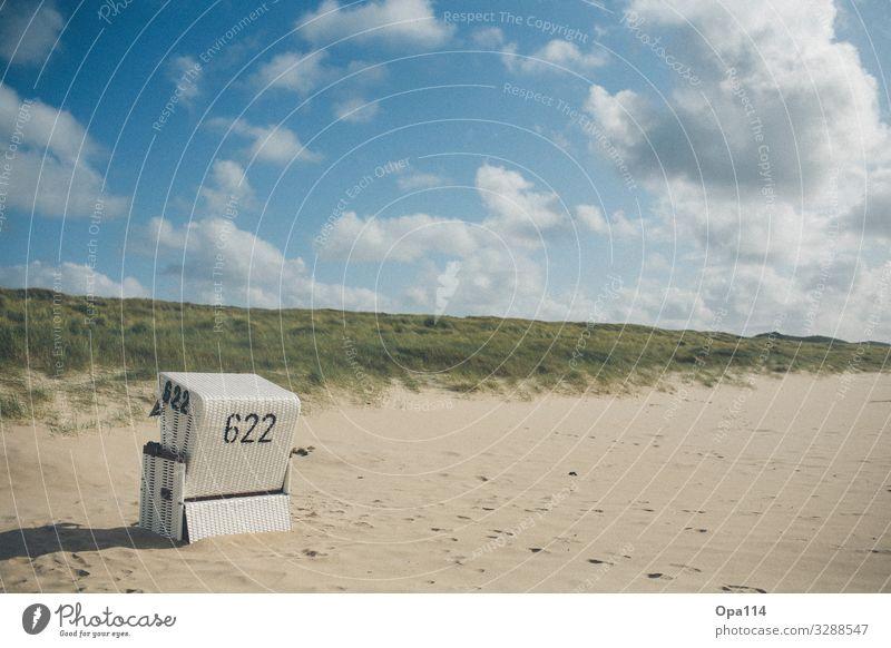 Strandkorb Ferien & Urlaub & Reisen Natur nackt Sommer Pflanze Landschaft Meer Tier ruhig Umwelt Küste Sand Horizont Kraft Insel Klima