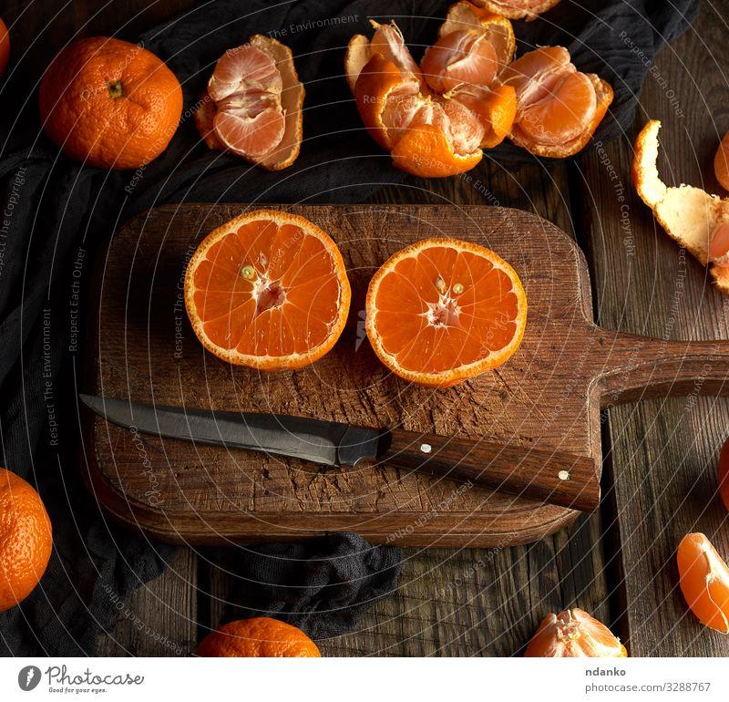 reife runde Mandarinen Frucht Ernährung Vegetarische Ernährung Saft Tisch Natur Holz frisch lecker natürlich saftig Gesundheit orange roh geschmackvoll Snack